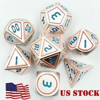 US 7Pcs Set Antique Metal Polyhedral Dice DND RPG MTG Role Playing Game With Bag