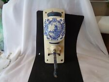 More details for vintage delft? wall hung ceramic coffee grinder 32cm l 13cm w