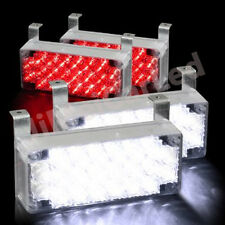 88 Red White LED Car Emergency Hazard Flash Strobe Warning Light For Grille Deck
