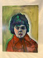 Original Oil On Board By John Cherrington 1931 - 2015 Child Portrait