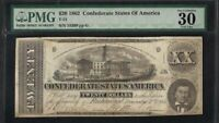 1862 $20 Confederate States of America Note Richmond / T-51 / plate- G / PMG 30