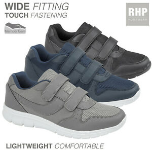 Mens WIDE Fit Touch Fasten Lightweight Casual Shoes Memory Foam Trainers  Size