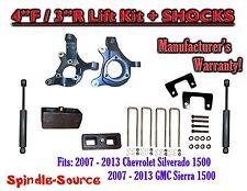"2007 - 2013 Chevy Silverado GMC Sierra 1500  4"" / 3""  Spindle LIFT KIT + SHOCKS"