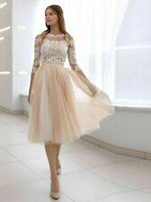 Champagne Wedding Dresses Tea Length Illusion Tulle Lace Appliques A Line Button