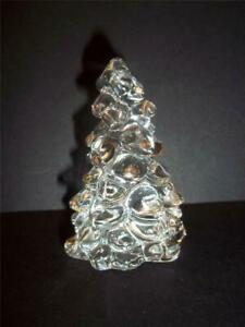 """Mosser Glass Crystal Clear 2.75"""" Mini Christmas Tree Figurine Made In USA New!"""