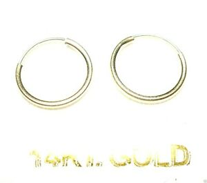 14Kt Yellow Gold Thin 12MM Endless Hoop Earrings - GIFT BOX - FREE SHIPPING!
