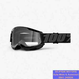 Maschera 100% STRATA 2 BLACK Occhiali Moto Cross/Enduro Lente Trasparente 461224