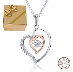 ❤️ Colgante Collar 925 Plata Collar Corazón Oro Rosa Mujer Regalos para Mujeres