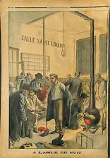 ACCEUIL DES PAUVRES ASILE DE NUIT SALLE SAINT LOUIS PARIS 1903