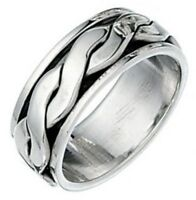 Elements 925 Oxidised Sterling Silver Men's Twisted Band Spinning 'Stress' Ring