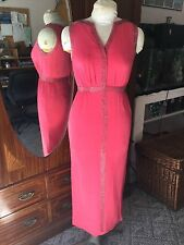 Vintage 50s? Exquisite Silver Beading Watermelon Greek Gown Dress S~Vgc