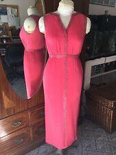 Vintage 50s? Exquisite Silver Beading Watermelon Greek Gown Dress S~VGC