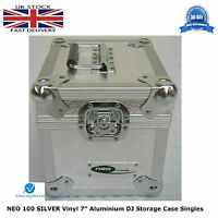 "2 X NEO Aluminium SILVER DJ Flight Case to Store 100 Vinyl Singles 7"" Records HQ"