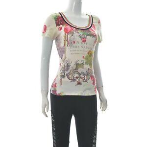 Marc Cain Womens Flower Garden Print Top T-Shirt Short Sleeve Strip Trim Size N2