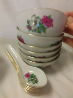 Chinese Porcelain Rice Soup Bowl with Matching Spoon - Total of 6 sets avail