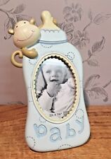 Baby Bottle with Monkey Blue Freestanding Photo Frame  New Baby Gift CG898B SALE
