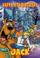 5x7 inches Scooby Doo birthday card plus envelope. Personalised