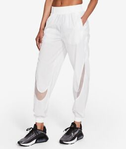 Nike Sportswear Woven Pants Womens White Black Joggers CZ8286 100 SMALL $90