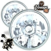 "5.75"" 5 3/4"" SEALED BEAM HEADLAMPS HEADLIGHTS CRYSTAL HALOGEN H4 CONVERSION KIT"