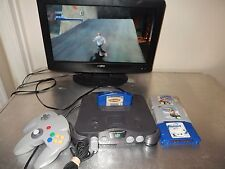 Nintendo 64 1 Controller All Cords 4 Games- Tony Hawk's Pro Skater, Wave Race