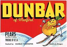 CRATE LABEL VINTAGE SKIING MEDFORD OREGON ANTHROPOMORPHIC DUNBAR 1950S RED