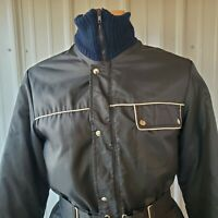VTG Raven BLACK Ski SNOWMOBILE Jacket Coat 70s 80s USA BELTED