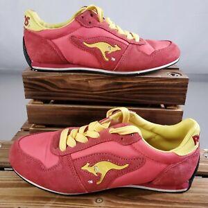 Vintage Kangaroos ROOS Running Shoes Womens 6.5  Pink Salmon Yellow