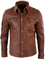Mens Shirt Jacket Brown Real Soft Genuine Waxed Leather Shirt