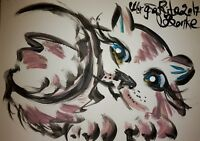 ORIGINAL katze MALEREI PAINTING zeichnung cat abstract abstrakt contemporary