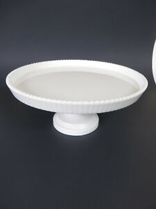 "Martha Stewart Collection for Macys White Glass Pedestal Cake Plate 9"""