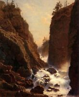 Oil painting William Stanley Haseltine Cascade stream crossing the mountains art