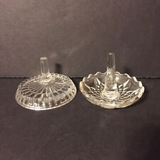 Two Vintage Clear Glass Avon 1980 Ring Holders