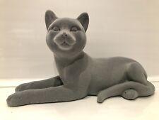 More details for grey velveteen lying cat tabby pet kitten ornament gift figurine