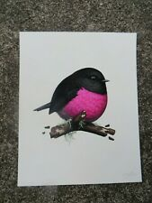 """Mike Mitchell Fat Bird Pink Robin Print 8""""x10"""" LE Signed Numbered 501 / 1111"""