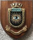 Vintage HMS Wakeful Painted Royal Navy Ship Badge Crest Shield Plaque x