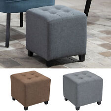 Tufted Ottoman Linen-Touch Fabric Upholstered Footstool Footrest Coffee Table