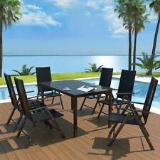 vidaXL Tavolo e Sedie da Giardino 7pz Alluminio e Poli Rattan Terrazzo Balcone