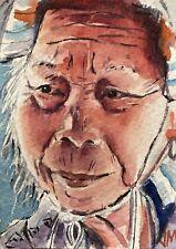 Aceo Original Watercolor  Painting Portrait  Fine Art Card