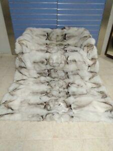 "Luxury White ""Blue"" Fox Fur Throw Real Fox Fur Blanket / Bedspread"