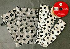 Dog Cat Pawprint Bags (2) Ribbon 3.25 Yards Black White New Paw Print Rayon