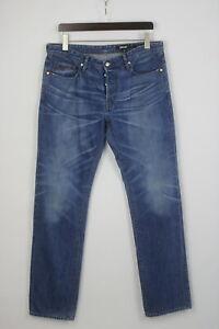 JUST CAVALLI REGULAR Men's W34 Fade Effect Button Fly Blue Jeans 24850-JS