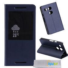 Custodia cover flip eco pelle BLU con stand e call id per Google Nexus 5X