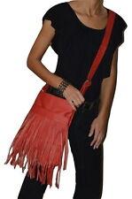 "Genuine Leather Fringe ""DEEP RED"" Messenger Bag Cross Body Handbag Purse PREMIUM"