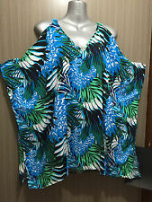 BNWT Womens Sz 14 Autograph Brand Forest/Feather Open Shoulder Tunic Top RRP $60