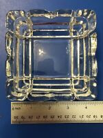 "Vintage Retro Ashtray Clear Glass Ornate Approx 4.5"" Square"