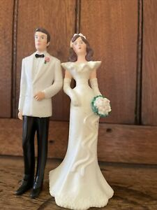 """Vintage EHW Wilton 1991 Bride And Groom Cake Topper 4 1/2"""" Tall"""