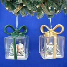 Thomas Kinkade Gift Shaped Christmas Ornament Set of 2 NIB  FS USA