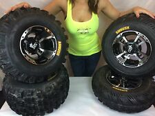 4 NEW Honda 400EX ITP SS112 Black Machine RIMS on CST Ambush Tires Wheels kit