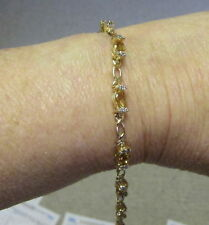 "NEW 14K YELLOW GOLD 4.7 CT CITRINE/DIAMOND 7"" BRACELET"