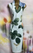 Ted Baker Ravina Luz Azul/Verde Floral Vestido Lápiz Jersey Talla 1 Reino Unido 8